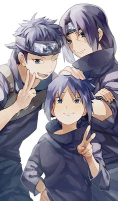 Shisui, Sasuke and Itachi Uchiha Naruto Kakashi, Anime Naruto, Naruto Shippuden Sasuke, Naruto Fan Art, Sarada Uchiha, Naruto Cute, Sasuke And Naruto Love, Naruto Clans, Japon Illustration