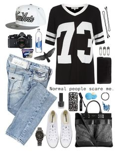 """""""""""The world can be amazing when you're slightly strange."""" - Unknown"""" by paradise-girl ❤ liked on Polyvore featuring Miss Sixty, Parisian, rag & bone, Converse, River Island, Bobbi Brown Cosmetics, Nikon, Chanel, Topshop and Hershesons"""