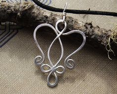 Celtic Angel Heart Sterling Silver Pendant-Celtic Necklace -Celtic Angel - Celtic Jewelry - Angel Jewelry-Hammered Wire.