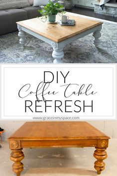 diy table If youre looking for an easy and inexpensive way to transform a thrifted coffee table then this is the post for you! Ive taken a thrifted coffee table and made it the modern farmhouse table of my dreams with this DIY coffee table transformation. Diy Furniture Table, Diy Furniture Projects, Refurbished Furniture, Furniture Makeover, Furniture Stores, Diy Furniture Repurpose, Gel Stain Furniture, Redoing Furniture, Transforming Furniture