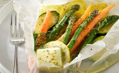 Vegetables en Papillote (in Parchment) with Lemon Herb Butter Sauce in Recipes on The Food Channel®