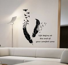 Feathers Turning Into Birds Vinyl Wall Decal Sticker Art Decor Bedroom Design Mural animals home decor living room LIFE BEGINS quote
