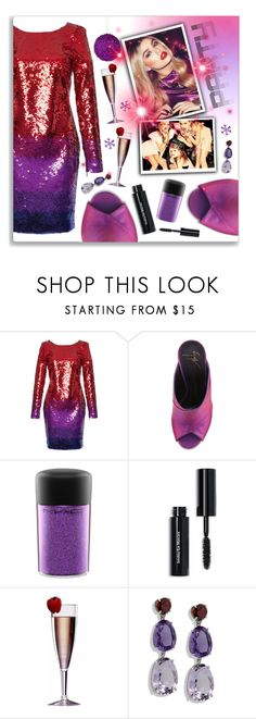 """""""Dance Party: Sequin Dress"""" by plnzh ❤ liked on Polyvore featuring Roberto Cavalli, Giuseppe Zanotti, MAC Cosmetics, Bobbi Brown Cosmetics and Improvements"""
