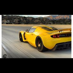 Hennessey Venom GT  It is rare for me to dig a yellow car. But how can you not dig a car with a twinturbo 6.2liter pushrod V8 and looks like a Lotus on roids!!