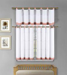 White And Orange Check Trim Kitchen Window Curtain Tier & Valance Set #DESIGNERLINENS #Contemporary