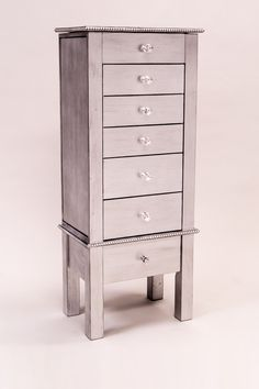 HIVES & HONEY - Crystal Silver Metallic Jewelry Armoire
