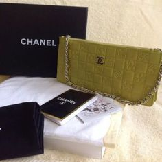 a5cdb08302d1 Get the trendiest Clutch of the season! The Chanel Clutch Limited Edition  Lucky Chain Apple Green Leather Wristlet is a top 10 member favorite on  Tradesy.