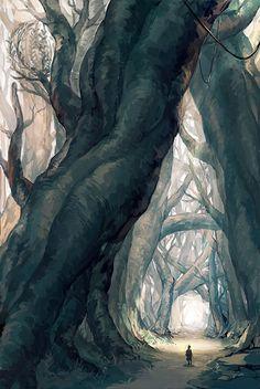 Joku hassu ajatus siitä, miltä nallukan mielessä metsämaisema voisi näyttää. Kaikki on pelottavaa, tehtävä epäonnistui jo kerran ja kaikki on omaan kokoon nähden suurta.