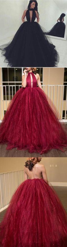 A-line Floor Length Halter Burgundy Prom Drsess/Evening Dress D30005#PROMDRESS#