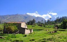Where some people live, view of Peru's highest mountain Huascaran