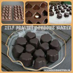 Recept om zelf praliné bonbons te maken zonder geraffineerde suikers en desgewenst zuivelvrij.