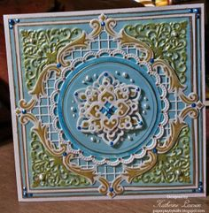 Blue and Gold Filigree Card