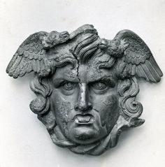 The Gorgon Medusa, Roman decoration (bronze), century AD, (British Museum, London). Ancient Rome, Ancient Art, Ancient History, Medusa Art, Medusa Gorgon, Statues, Sculptures, Lion Sculpture, Empire Romain