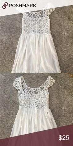 white floral lace dress white, short sleeve, floral dress perfect for summer and the beach Dresses Midi