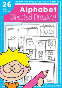 Alphabet Directed Drawing - Printable Worksheets for Phonics / Art