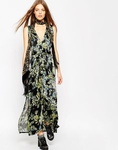 ASOS AFRICA Maxi Dress In Black Floral Print