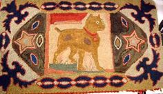 "A PRIMITIVE HAND HOOKED RUG DEPICTING A BOXER DOG; Flanked by stars and oval pattern, surround of floral motif, 42-1/2"" x 24-1/2"", some wear Note from cee.. such a shame no one would give this rug a home, starting bid was only 50.00 and no sale."