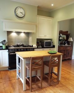 Budget kitchen makeover, Farrow and Ball painted kitchen, Ikea Stenstorp kitchen island, traditional hand painted kitchen
