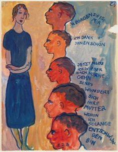 Charlotte Salomon (German Jewish), Life or theater ?, gouache from a journal written and painted (with tree colors : red, blue and yellow) in France, before her death in Auschwitz in 1943