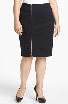 Vince Camuto Front Zip Pencil Skirt (Plus Size) | Nordstrom
