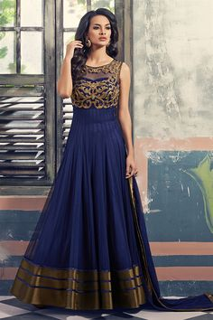 Blue Net Anarkali Suit Like this pin #awesome