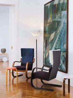 "scandinaviancollectors: ""ALVAR AALTO, Armchair model stool model and A 805 floor lamp all by Artek Oy, Finland. / Interior-Home Decoration "" Alvar Aalto, Furniture Styles, Furniture Design, Office Furniture, Architecture Organique, Showroom, Inexpensive Furniture, Living Styles, Distressed Furniture"