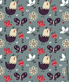 dinara mirtalipova on print & pattern Bird Patterns, Pretty Patterns, Color Patterns, Motifs Textiles, Textile Patterns, Pattern Illustration, Graphic Design Illustration, Design Graphique, Illustrations