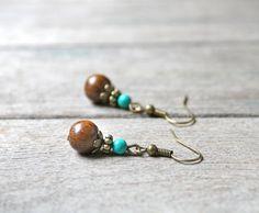 Boucles d'oreilles perles de Turquoise et perles en bois - Bijou pierre fine naturelle - Idée cadeau bijou ethnique : Boucles d'oreille par joaty