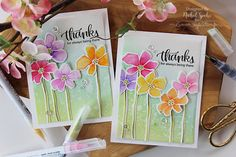 "Nichol Spohr LLC: Simon Says Stamp | Artful Watercolored Flowers ""Thanks"" Cards"