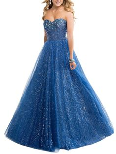 Beautyfudre Women's Rhinestones Sweetheart Sequins Empire Long Ball Gown Prom Dress Blue US4. Fabric: Sequin,Satin. Highlights: Rhinestones,Sequins,Sweetheart,Empire,Backless,Lace-up,with Bra. In order to make sure the dress fit you ,please refer to the standard size chart displayed left below the picture.If you need customize,please email us your measurements when you order,Thank you!. When getting your order,we will contact you to make sure you have chosen the right measurements.If no...