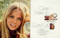 """1970 Beauty Ad, Cover Girl Makeup, with Ingenue Actress & Model Cybill Shepherd, """"Clean Make-up"""" advert) 1970s Makeup, Vintage Makeup Ads, Retro Makeup, Vintage Beauty, Vintage Ads, Vintage Fashion, Vintage Trends, Vintage Stuff, 70s Fashion"""