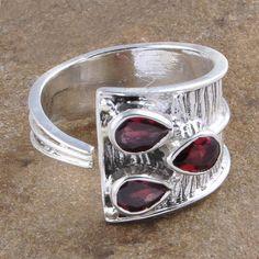 ANTIQUE 925 SOLID STERLING SILVER GARNET CUT RING JEWELLERY 4.44g R1425 #Handmade #RING