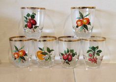 Six Stunning Vintage Shot Glasses with Fruit by TheBotanicalFox, £10.00