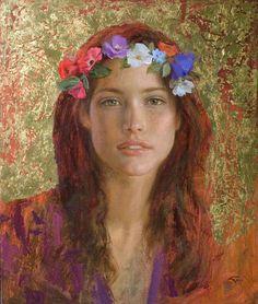 Goyo Dominguez 1960 | Spanish-born British Romantic Realist painter. Beautiful portrait of a gorgeous woman.