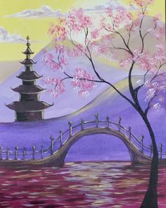 """Get your Zen on with this beautiful """"Mandarin Garden!"""" Class for this blossom filled master piece is tonight, April 20th, from 7-9PM! Book your canvas at: https://www.pinotspalette.com/arnold/event/233755 … #mandaringarden #purplemountains #springblossoms #paintdrinkandhavefun"""