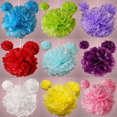 Tissue Paper Pom Poms ~ Hanging Tissue ~ Wedding Decor ~ Party Decor ~ Room Decor