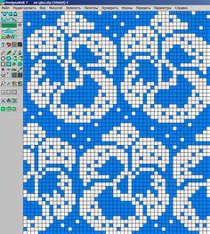 "- Pansies (my scheme) Photo from album """"Анютины глазки"""" on Fair Isle Knitting Patterns, Fair Isle Pattern, Knitting Charts, Knitting Stitches, Cross Stitch Flowers, Cross Stitch Patterns, Crochet Chart, Crochet Patterns, Fair Isle Chart"