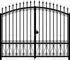 Illustration about Beautiful gate with ornate outdoor silhouette vector. Illustration of iron, artwork, construction - 26647087 Front Gates, Entrance Gates, Silhouette Vector, Silhouette Cameo, Metal Gates, Steel Gate, Vector Portrait, Iron Work, Gate Design