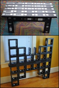 "DIY Inspiration. Used VHS Tapes and contact cement used to make tables and a ""VHS Butterfly"" by  Sam Hensley. First seen at Recycleart here. His facebook page where their are additional photos of other things he's made (and a video) is here. Love it or hate it - it's a pretty creative idea."