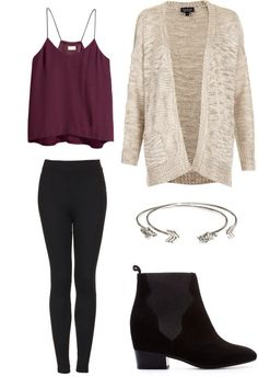 dark magenta tank, cream shrug, black leggings, black boot, silver cuff