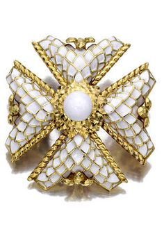 An eighteen karat gold and enamel brooch, David Webb designed as a white enamel Maltese cross, enhanced by textured gold detail, centering a white enamel dome within a hammered gold foliate surround; signed Webb; gross weight approximately: 79.2 grams; diameter: 2 1/4in.