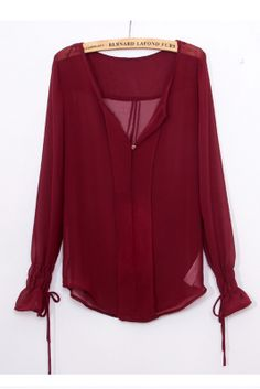 Perspective sleeved chiffon blouse_long sleeve blouses_Blouses&ChiffonShirt_CLOTHING_Voguec Shop
