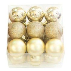 2.3 in. Gold Shatter-Resistant Christmas Ornaments (18-Pack)