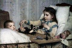 Swiss Genre Painter Albert Anker (1831-1910)   Look at the bed jacket