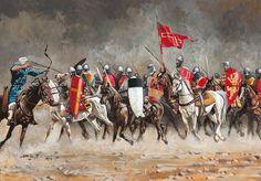 La carga de los caballeros cruzados durante la batalla de Arsuf, la victoria de la huestes comandadas por Ricardo I ante las tropas de Saladino. http://www.elgrancapitan.org/foro/viewtopic.php?f=87&t=16834&p=904215#p903873