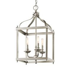 Kichler Larkin 12-In Brushed Nickel Vintage Single Cage Pendant