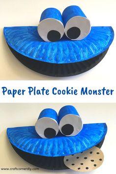 Paper Plate Cookie Monster Puppet | Craft Corner DIY | Paper plate Crafts for Kids Paper Plate Crafts For Kids, Easy Crafts For Kids, Craft Activities For Kids, Toddler Activities, Art For Kids, Kid Art, Craft Ideas, Toddler Arts And Crafts, Baby Crafts