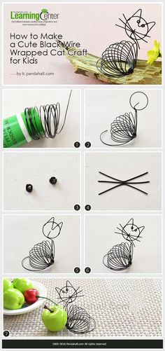 Tutorial on How to Make a Cute Black Wire Wrapped Cat Craft Cat Crafts, Crafts For Kids, Arts And Crafts, Wire Tutorials, Jewelry Making Tutorials, Diy Crafts Jewelry, Wire Crafts, Wire Wrapped Jewelry, Wire Jewelry