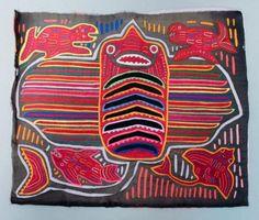 Estate-Found-Panama-Kuna-Mola-Embroidered-Stingray-Fabric-Panel-Cultural-Dress