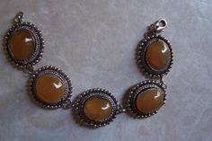 $35 - Vintage Chunky Silver Cabochon Amber bracelet